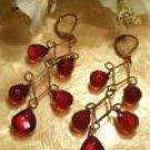 Brass red dangling earrings-51673