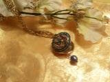Gold with Blue Crystal Locket Necklace-75094
