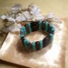 Black and blue chunky beaded bracelet-82238