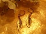 Gold leaf earrings-82321