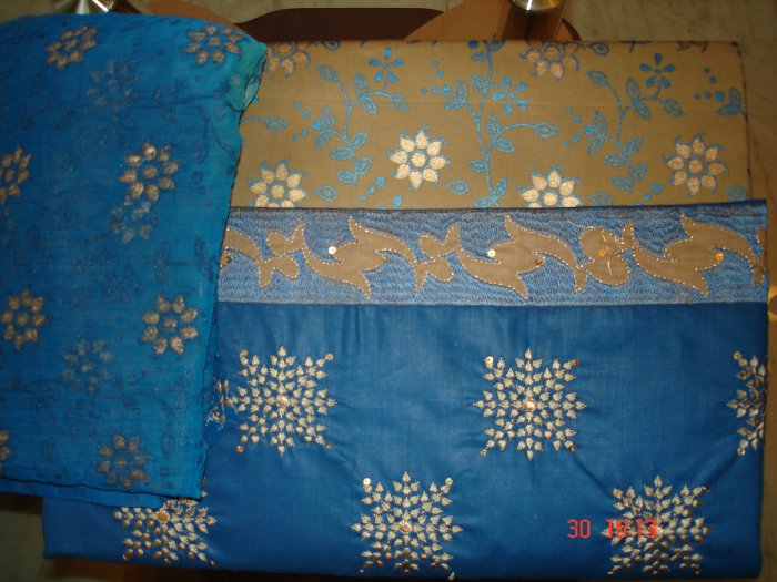 T-305: Blue Salwar Kameez Cotton Fabric with Embroidery