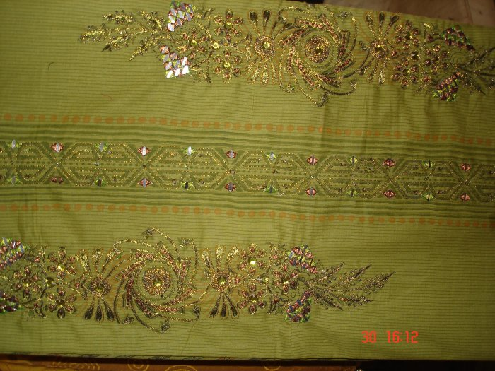 T-287: Green Salwar Kameeez Cotton Fabric with Embroidery and Mirror Work
