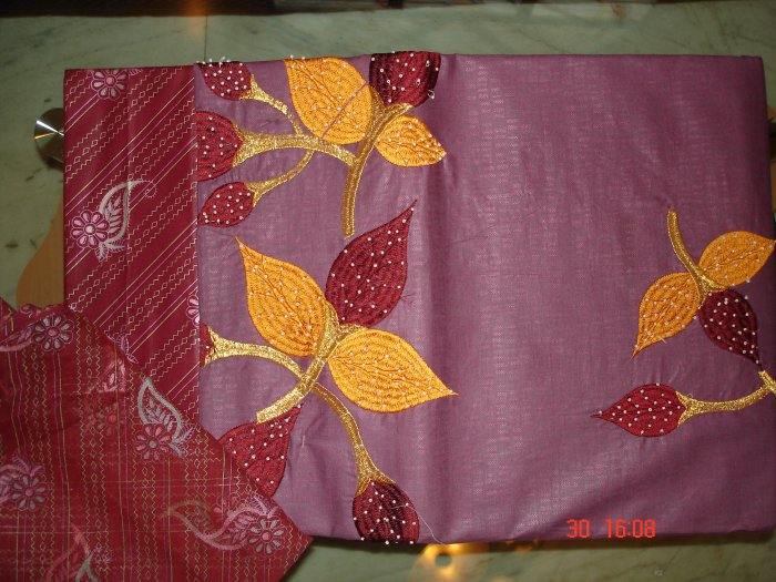 T-298: Violet Salwar Kameez Cotton Fabric with Floral Embroidery