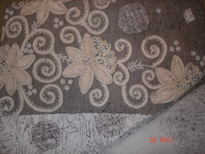 T-314: Salwar Kameez Cotton Fabric with Embroidery and Perl Work
