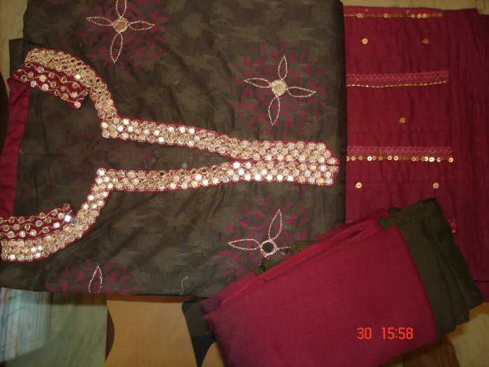 T-291: Salwar Kameez Cotton Fabric adorned with Mirror Work on the neck