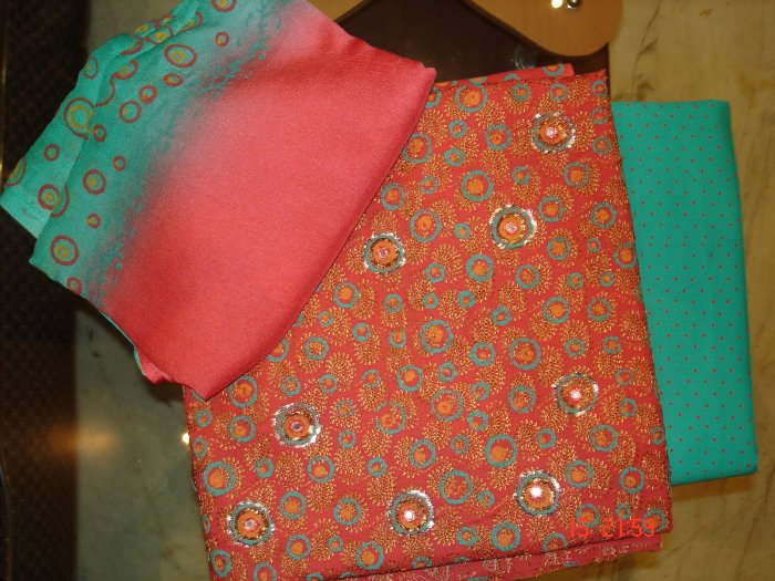 T-195: Cotton Salwar Kameez Fabric with Embroidery, Fabric Painting and Zardosi Work