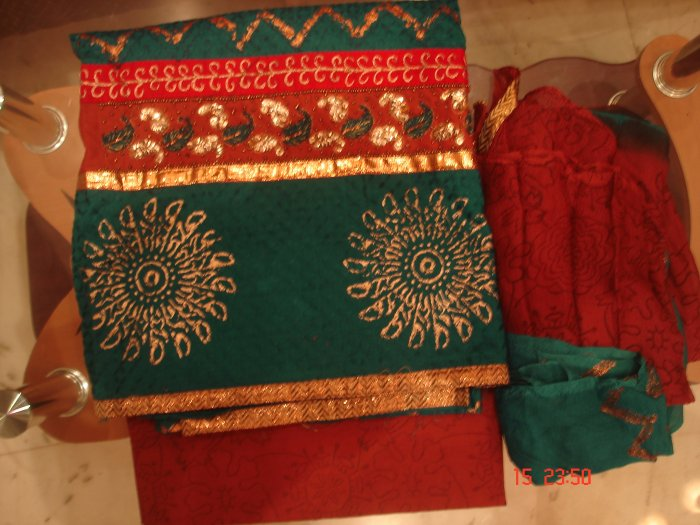 T-386: Cotton Salwar Kameez Fabric with Sequence Work