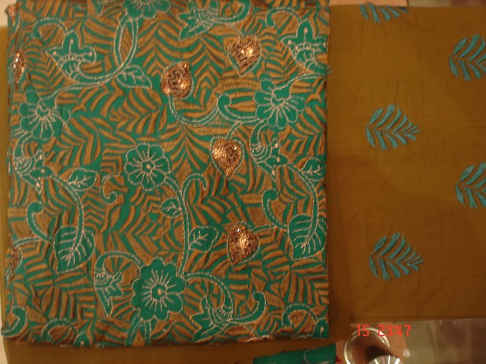 T-334: Green Color Cotton Salwar Kameez Fabric with embroidery and chiffon dupatta