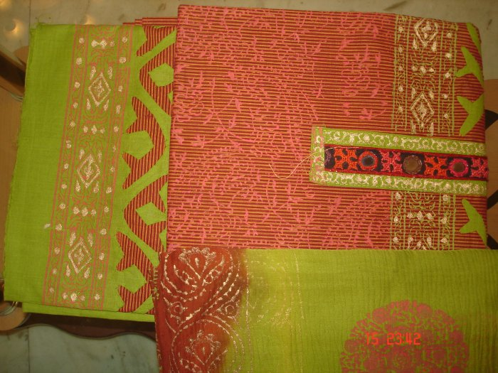 T-360: Cotton Salwar Kameez Material with patch work and chiffon dupatta
