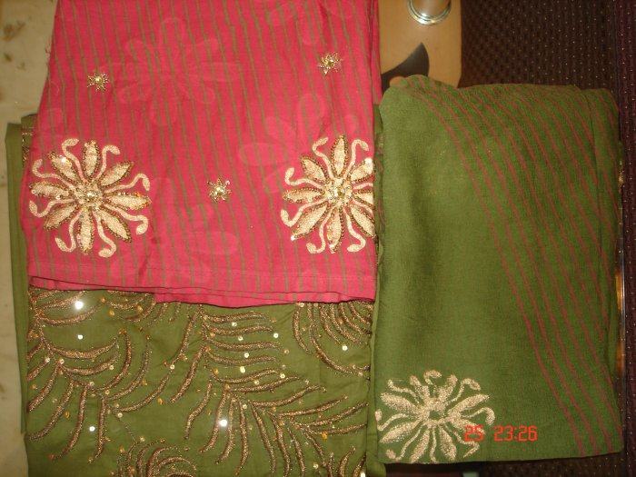 T-401: Copper Color embroidery and sequence work on Green Salwar