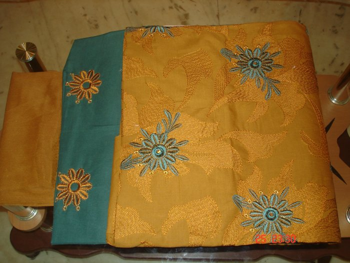 T-400: Yellow & Dark Green Cotton Salwar Kameez with embroidery