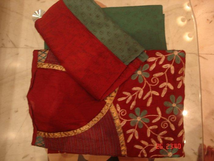 T-396: Salwar Kameez with Floral Design Thread work with printed Dupatta