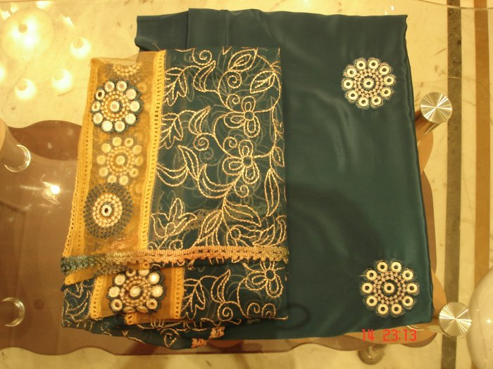 T-449: Peacock Blue Crepe Salwar Kameez with Embroidery and Heavy Dupatta