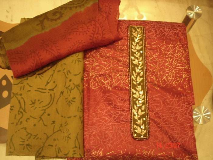 T-419: Semi Silk Pink Kameez with embroidered borders