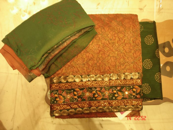 T-432: Metallic Silk Kameez with printed Cotton Silk Salwar