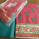 T2028: Cotton Suit with thread work and matching chiffon dupatta