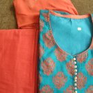 T2019 : Blue Cotton Silk Suit with Orange Embroidery