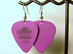 Guitar Pick Earrings- Simple Turtle- Purple