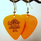 Guitar Pick Earrings- Simple Turtle- Orange