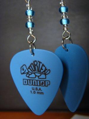 Guitar Pick Earrings- Beaded Turtle- Blue