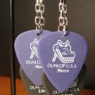 Guitar Pick Earrings- Double Strand Gators- Black and Purple