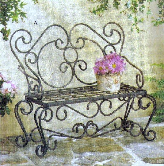 Park Bench Plant Holder Seat