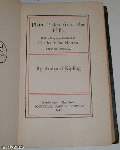 b112 PLAN TALES FROM THE HILLS by Rudyard Kipling 1911