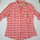 I708 New Women's shirt HOLLISTER Size L Orange Plaid