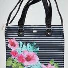 N306 New Women's Handbag AEROPOSTALE Logo Floral Striped Tote (Black)