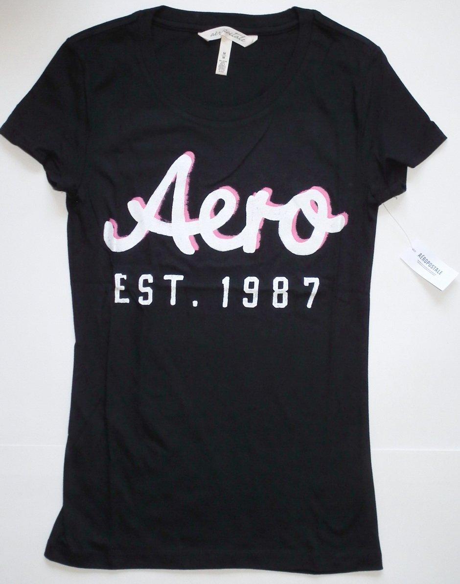 J860 New Womens T-shirt AEROPOSTALE Size M Black