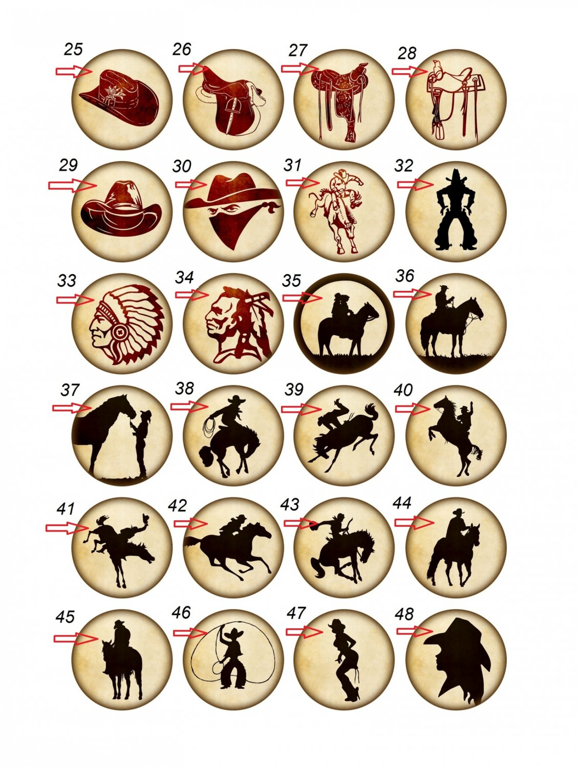 Wholesale Lot Party Set (48) 1.25 inch Pinback Button Badge Western Cowboy Pins Aprox. 32mm