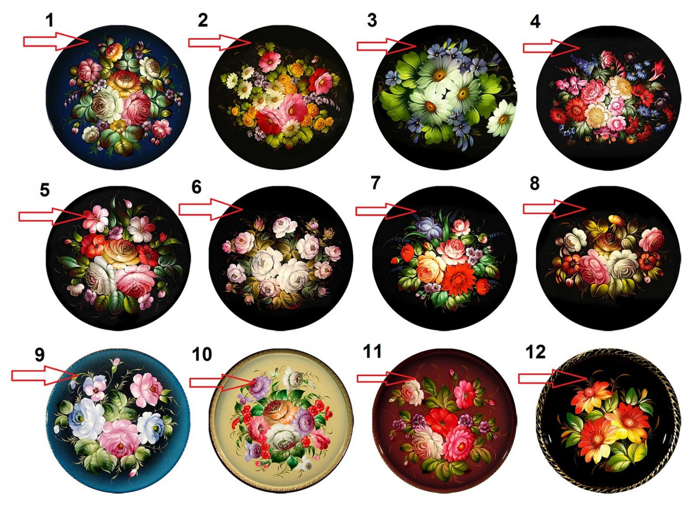 "Wholesale Lot Party Set (12) 1.25"" Pinback Button Badge Zhostovo Trays 1¼"" Pins, Aprox. 32mm"