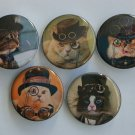 "Lot of 5 1.25"" Pinback Buttons Badges Streampunk Cats (1¼"" Pins Approx. 32mm)"