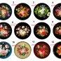 "Wholesale Lot (12) 1.25"" Fridge Magnet Button Zhostovo Trays 1¼"" Pins, Aprox. 32mm"