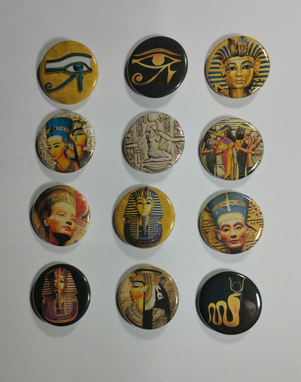 "Wholesale Lot Party Set (12) 1.25"" Pinback Buttons Ancient Edypt Nephertiti ¼"" Pins, Aprox. 32mm"