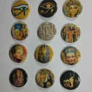 "Wholesale Lot Party Set (12) 1.25"" Pinback Buttons Ancient Edypt Nephertiti ¼"" Pins, Aprox. 32mm"