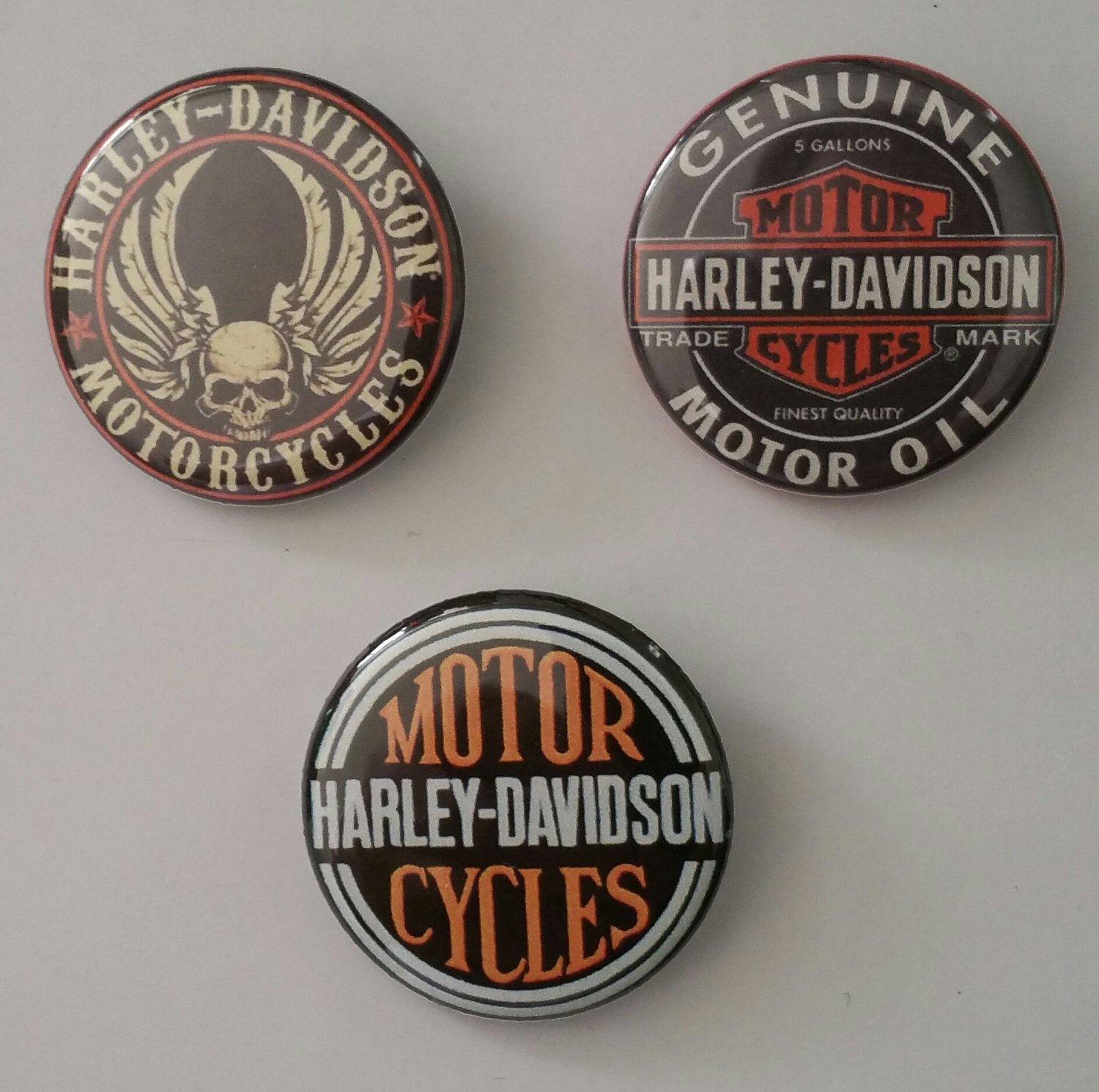 "Lot of 3 1.25"" Fridge Magnet Buttons Harley Davidson Motorcycles 1.25 in (Approx. 32mm)"
