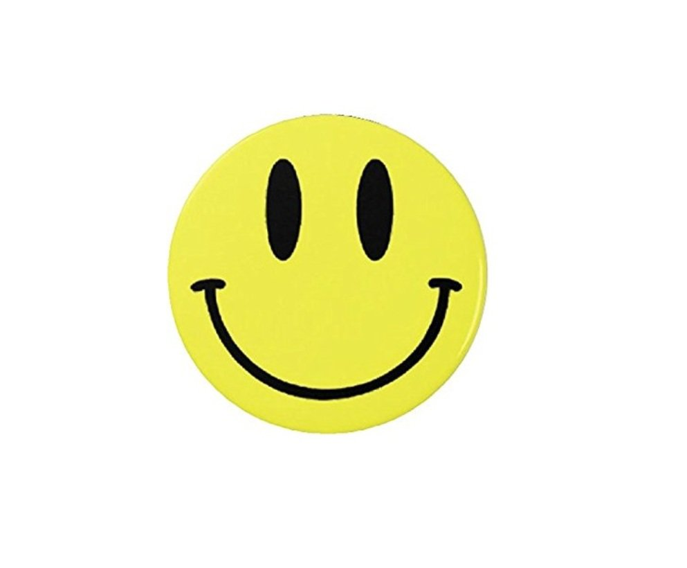 """1.25"""" Flatback Button Badge Yellow Smiley Face (1¼"""", Approx. 32mm) 'Buy 2 Get 1 Free'"""