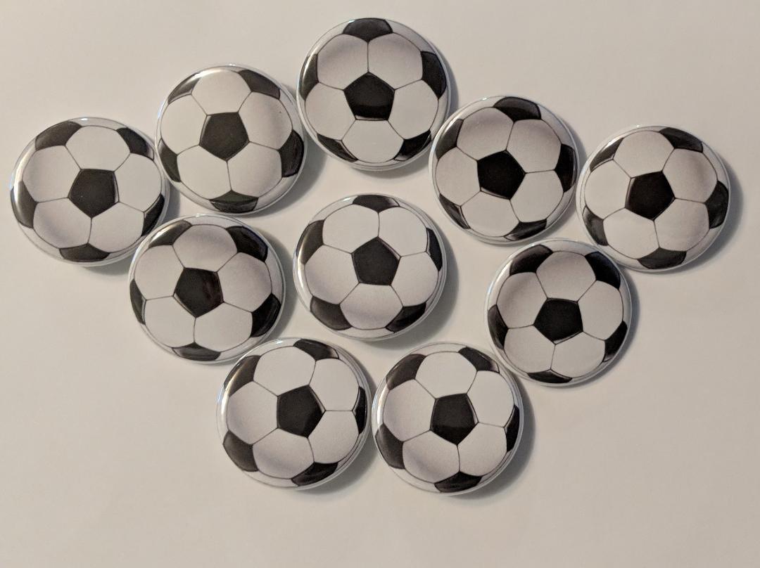 "Lot of 10 1.25"" Pinback Buttons Soccer Ball"