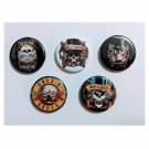 "Lot of 5 1.25"" Pinback Buttons Guns N'Roses"