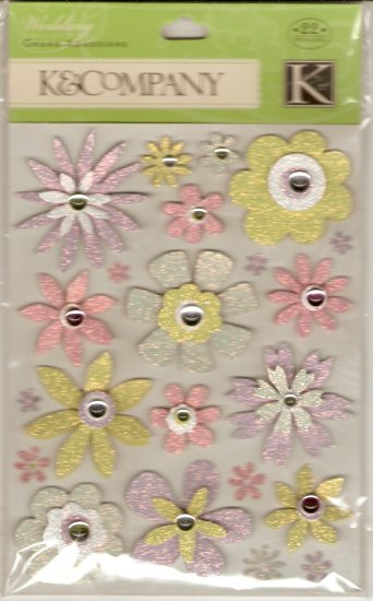 K & Company Grand Adhesions Wedding Multi Color Glitter Flowers #914