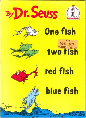 One fish Two Fish Red Fish Blue Fish, by Dr. Seus, Reader Reading, Children Grades K to 2