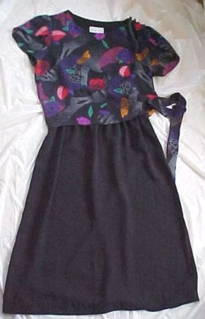 Black Dress with Faux Floral Blouse Top by Bobby's Girl Size:8
