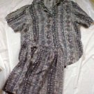 Sophisticates by Johnathan Martin 2PC Silk Blouse and Shorts Set  Size: Large