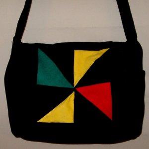 Rasta patchwork messenger tote purse