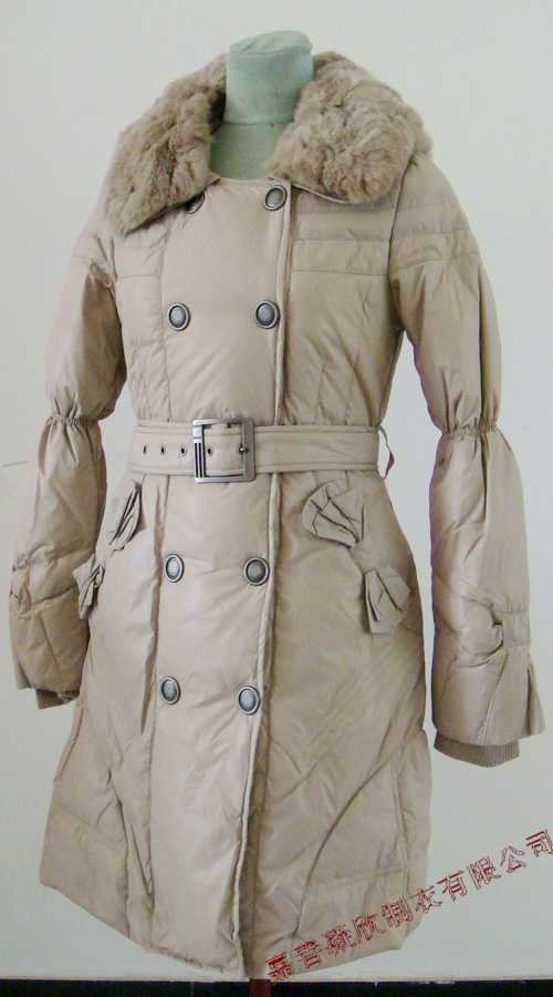 Bowknot Pocket Ladies'double-breasted DOWN JACKET with Rex Rabbit Hair Collar&Hoody Beige clr
