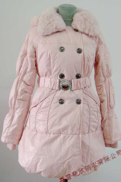 2011 Prancing Leaves Ladies'double-breasted DOWN JACKET with Rex Rabbit Hair Collar&Hoody Pink clr