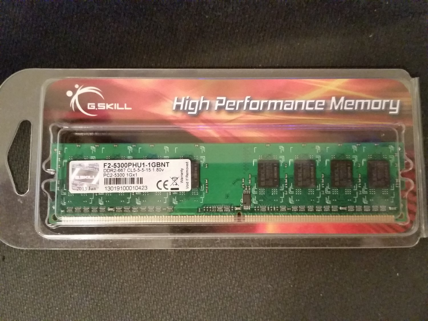 G.Skill 1GB DDR2 PC2-5300 240 Pin Desktop Memory F2-5300PHU1-1GBNT - New!