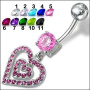Fancy Heart Dangling Jeweled Belly Ring (PBM1370) - *FREE SHIPPING
