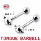 316L Tongue Barbell with Steel ball and Cone  (BAR201)